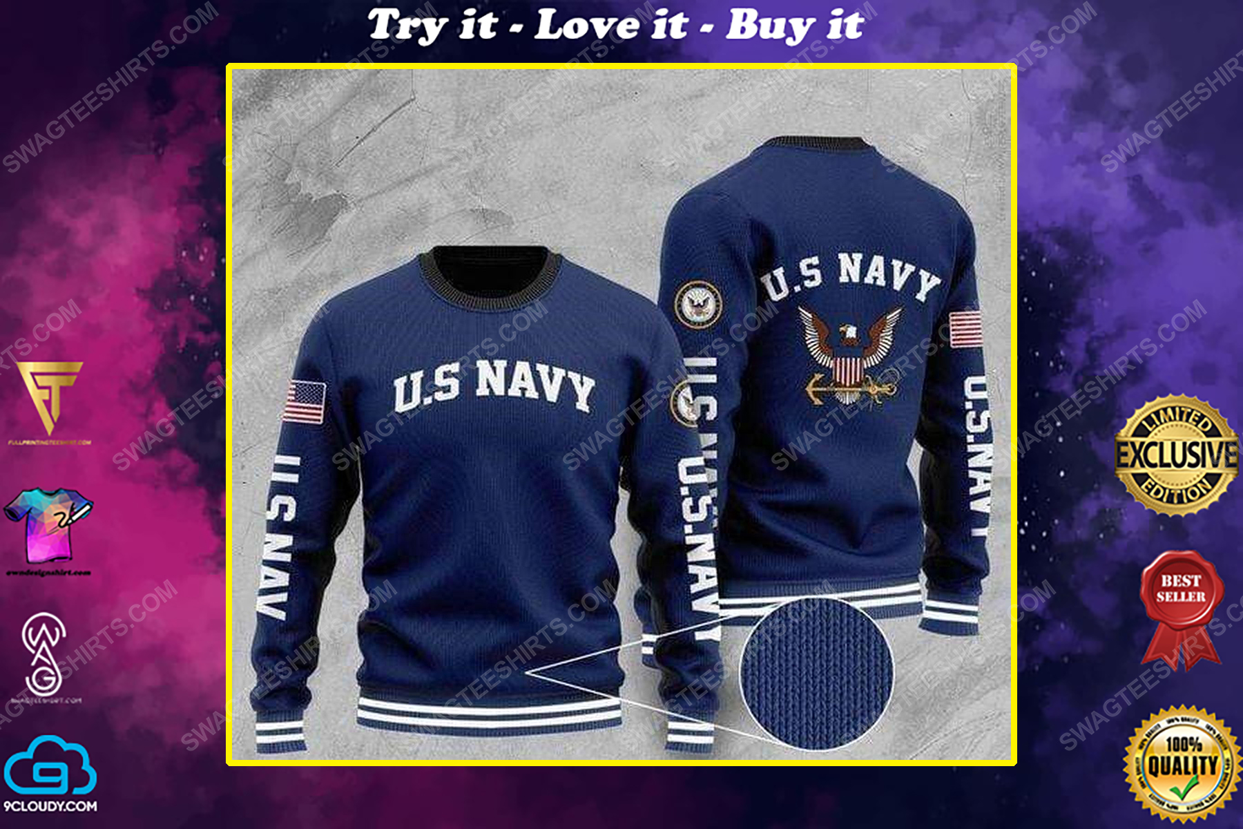 United states navy all over print ugly christmas sweater
