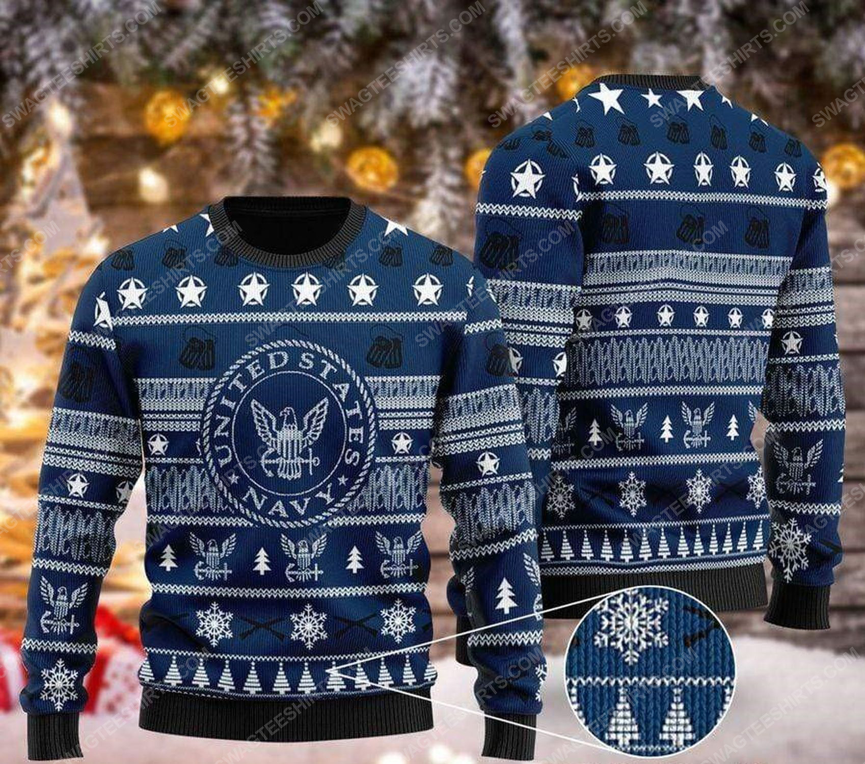 United states navy pattern ugly christmas sweater 1