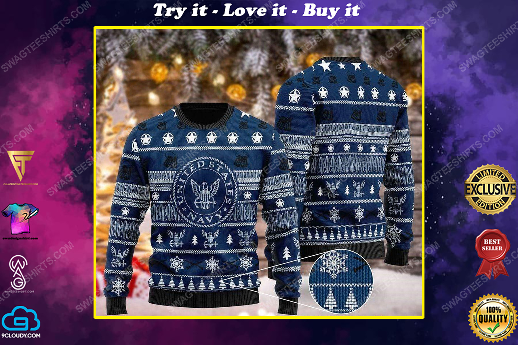 United states navy pattern ugly christmas sweater