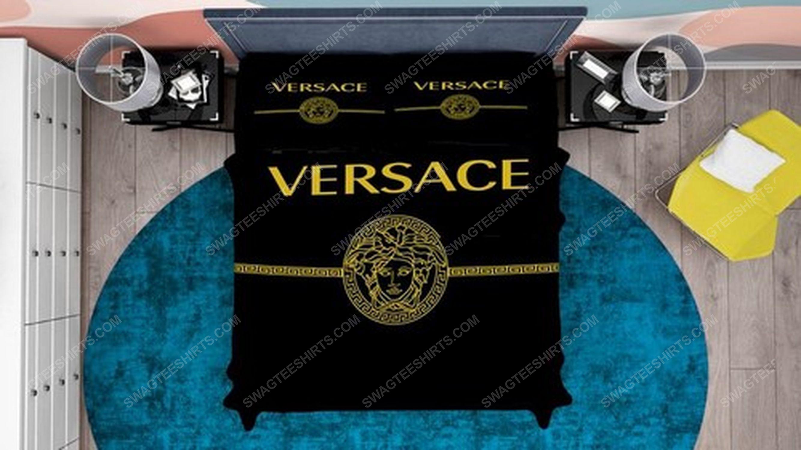 Versace black and gold full print duvet cover bedding set 2