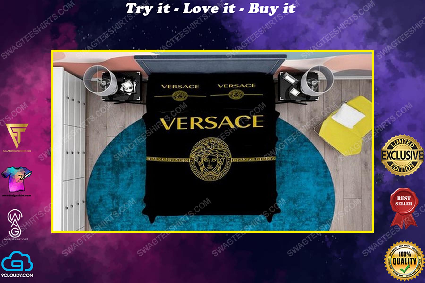 Versace black and gold full print duvet cover bedding set