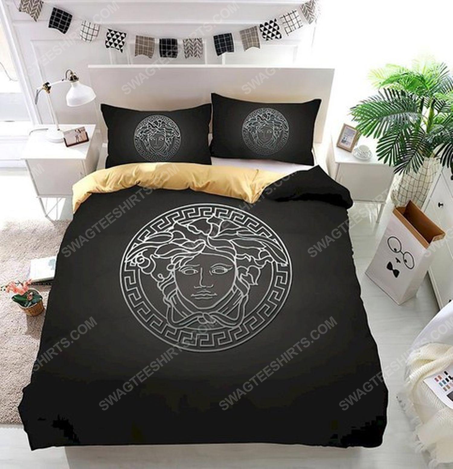 Versace home black version full print duvet cover bedding set 3 - Copy