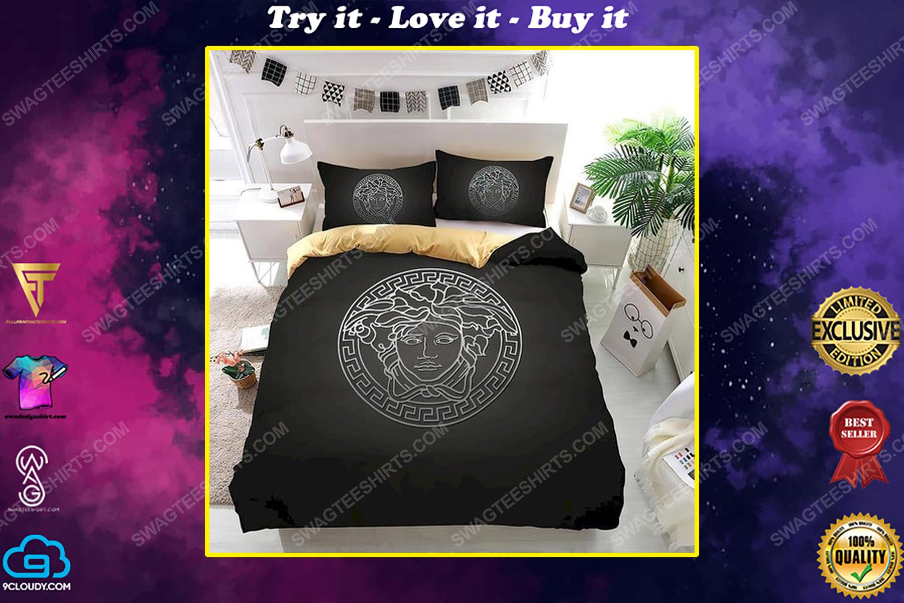 Versace home black version full print duvet cover bedding set