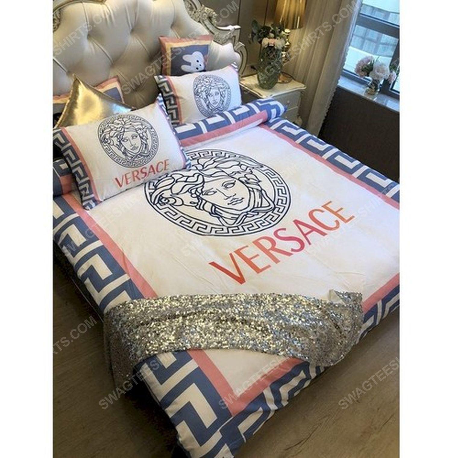 Versace home cream version full print duvet cover bedding set 2 - Copy
