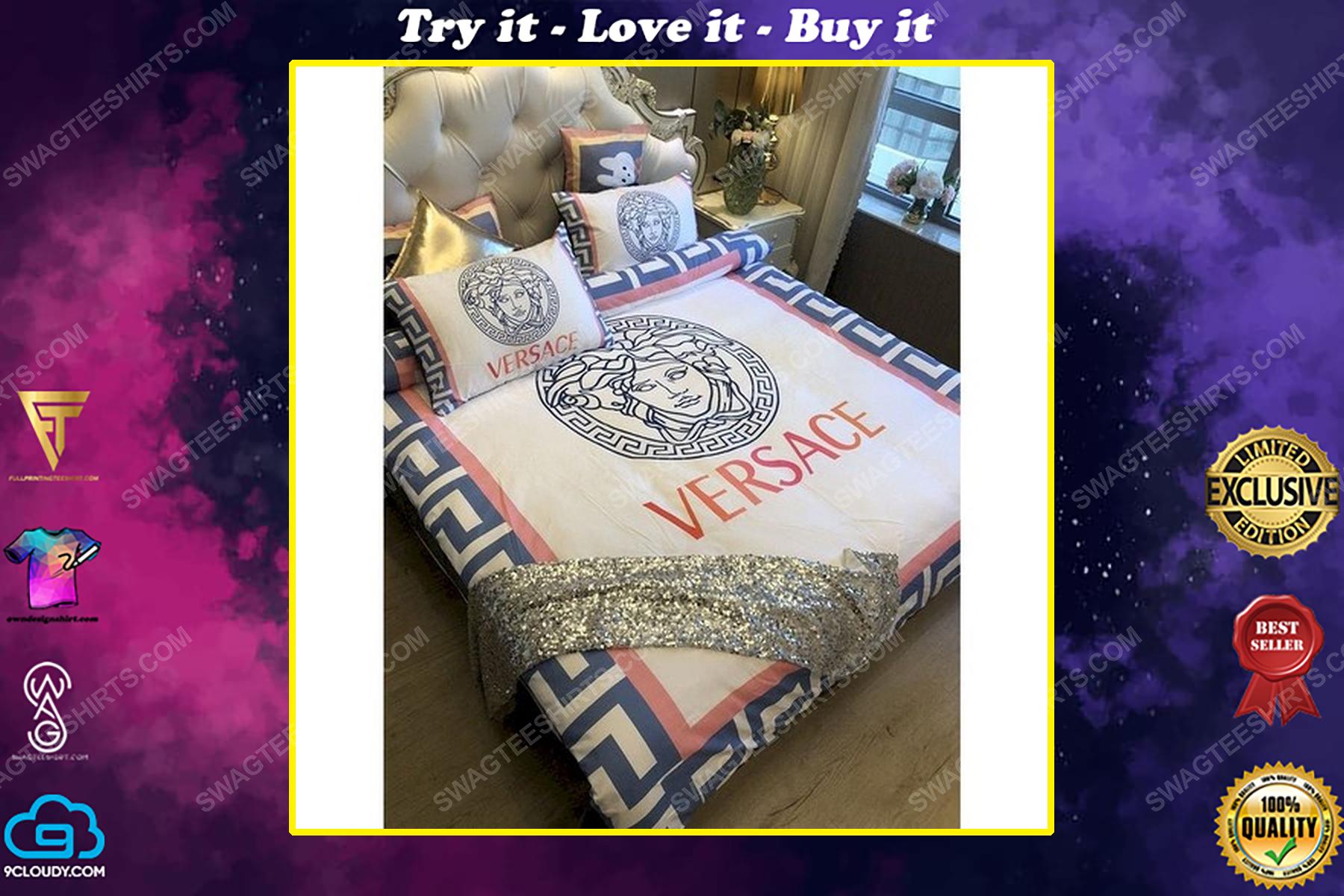 Versace home cream version full print duvet cover bedding set