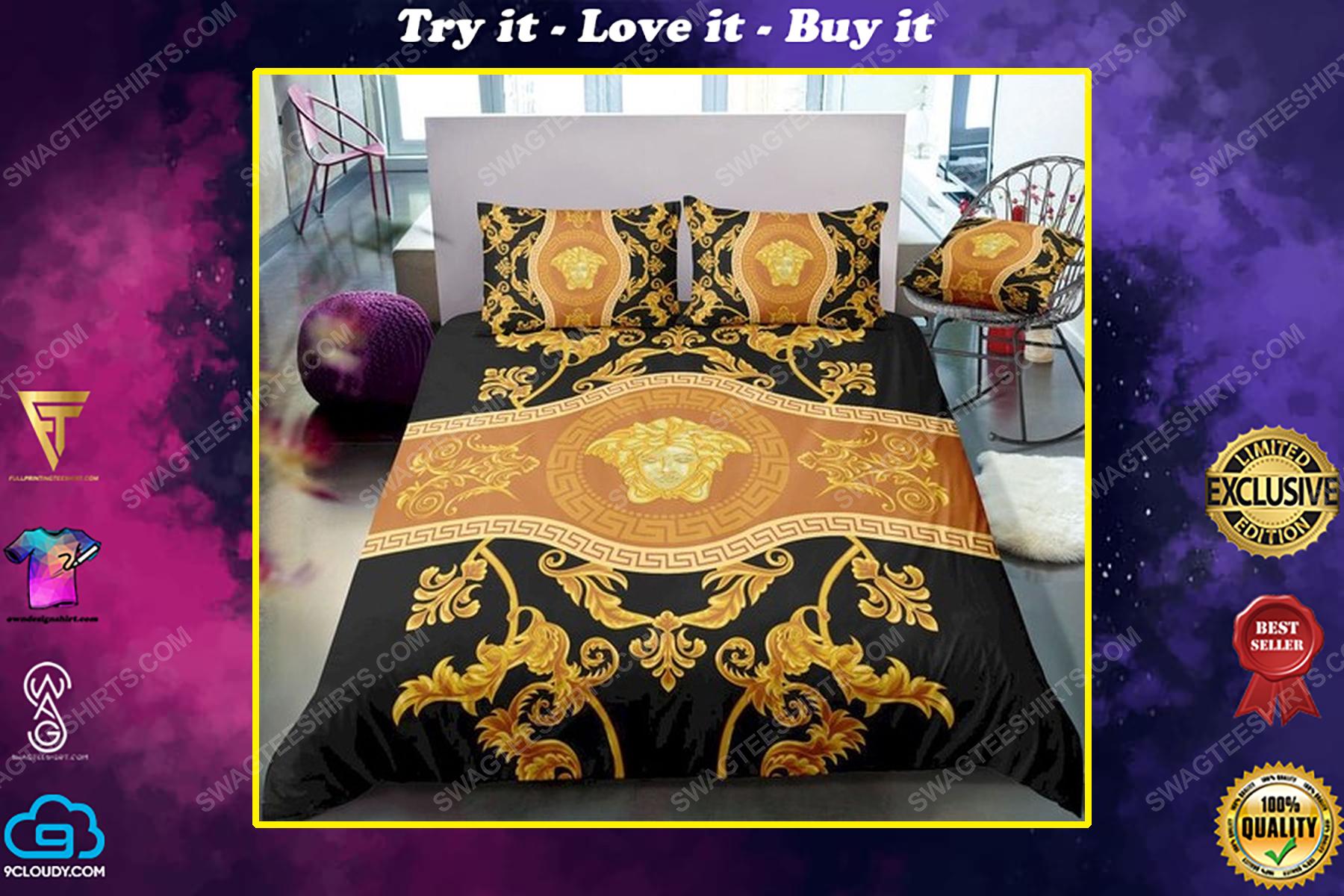 Versace home golden version full print duvet cover bedding set