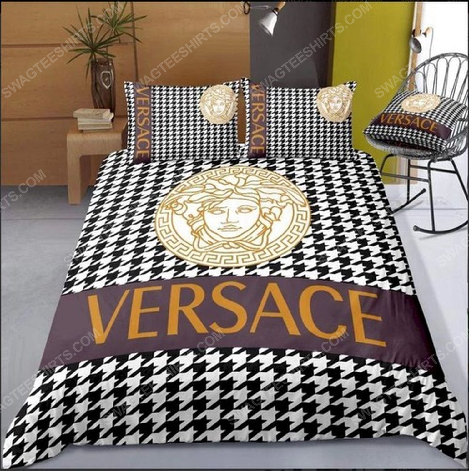 Versace home monogram full print duvet cover bedding set 3 - Copy