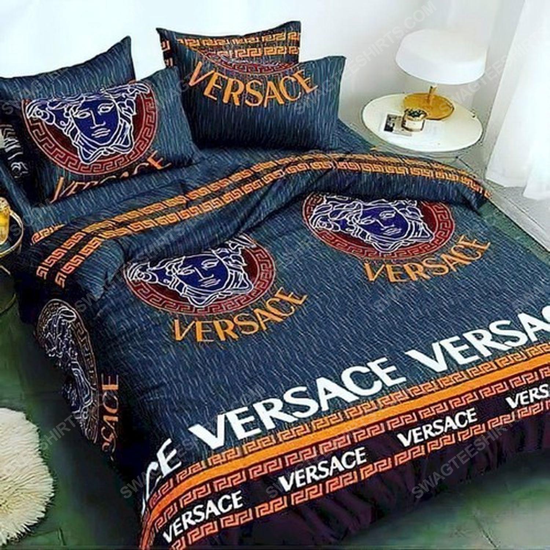 Versace home navy version full print duvet cover bedding set 3 - Copy