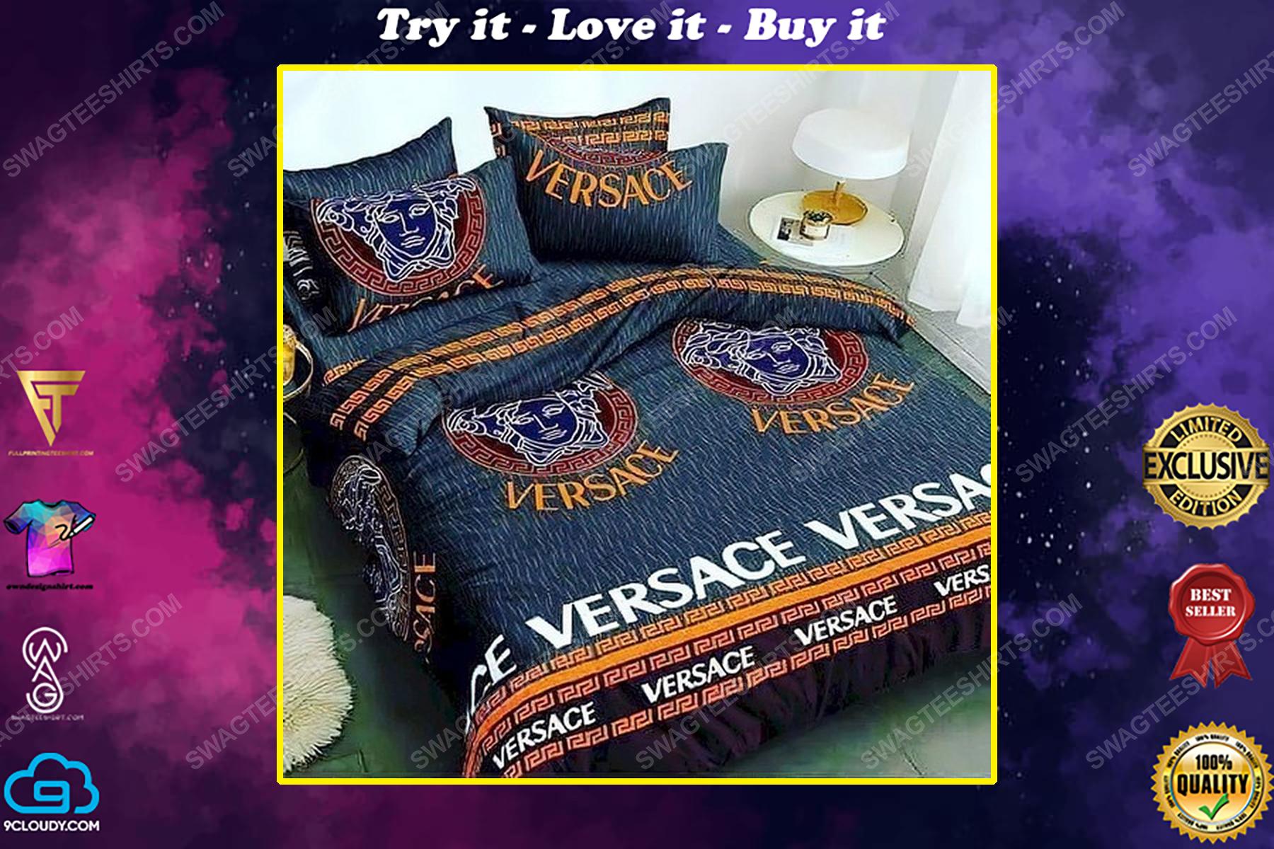 Versace home navy version full print duvet cover bedding set