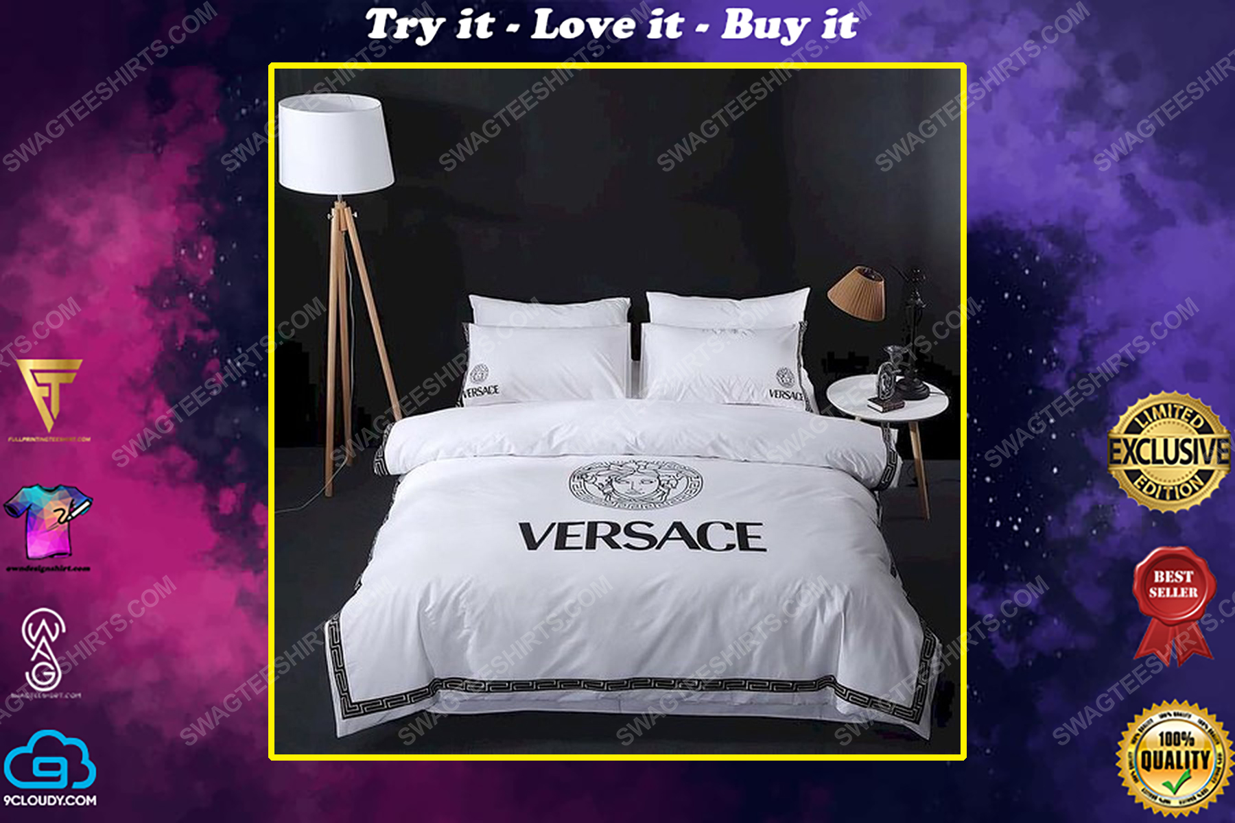 Versace home original full print duvet cover bedding set