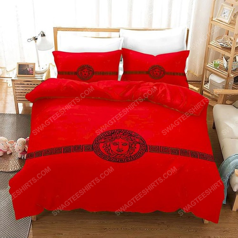 Versace home red version full print duvet cover bedding set 3 - Copy