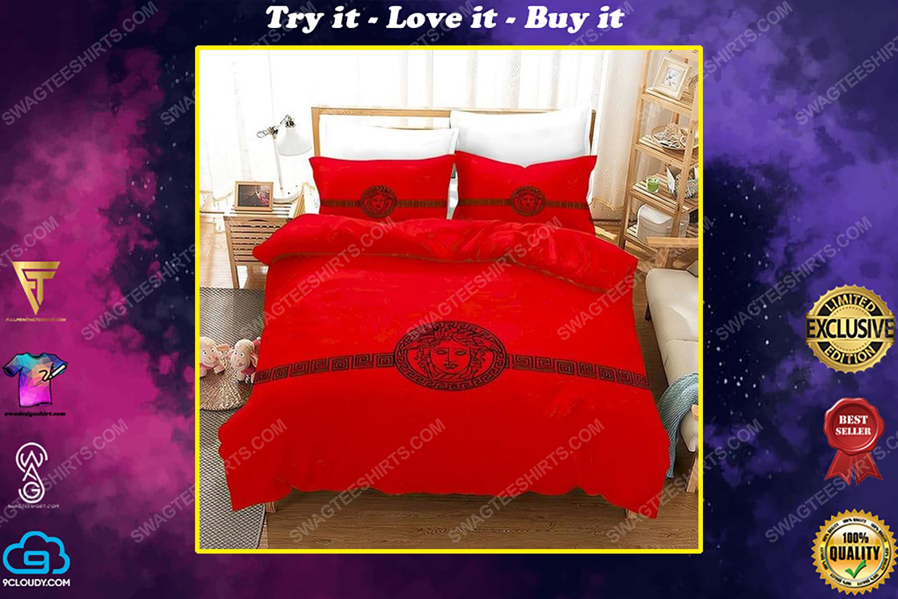 Versace home red version full print duvet cover bedding set