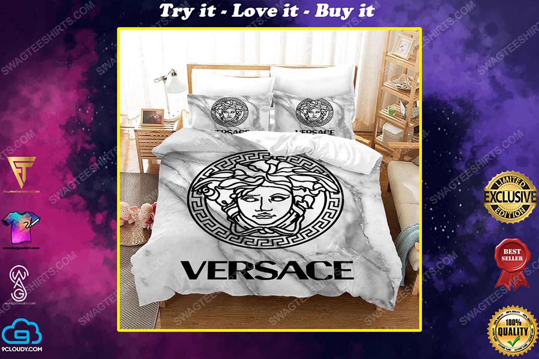 Versace home white version full print duvet cover bedding set