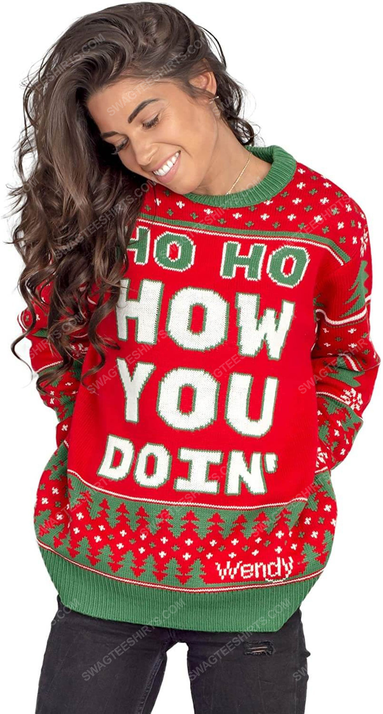 Wendy williams red ho ho how you doin' full print ugly christmas sweater 3