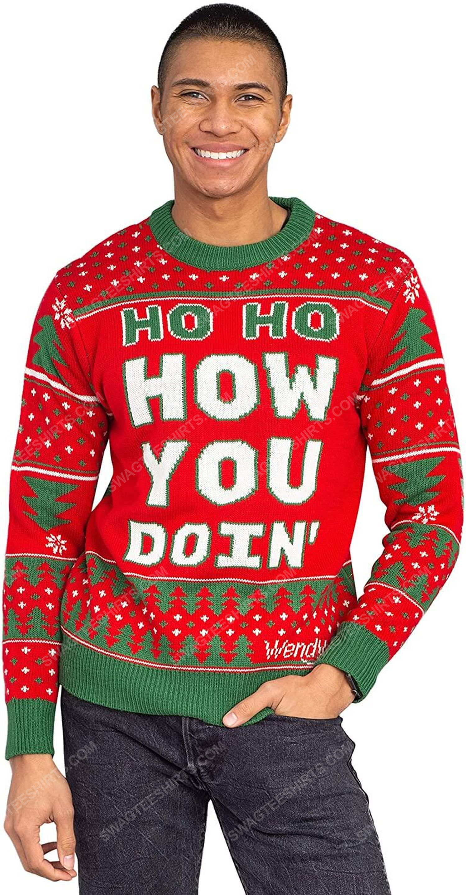 Wendy williams red ho ho how you doin' full print ugly christmas sweater 5