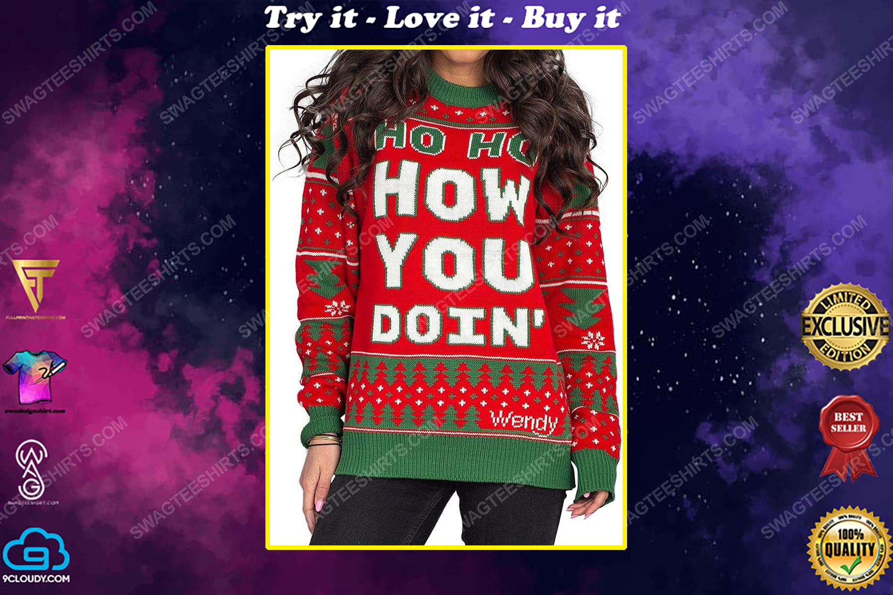 Wendy williams red ho ho how you doin' full print ugly christmas sweater