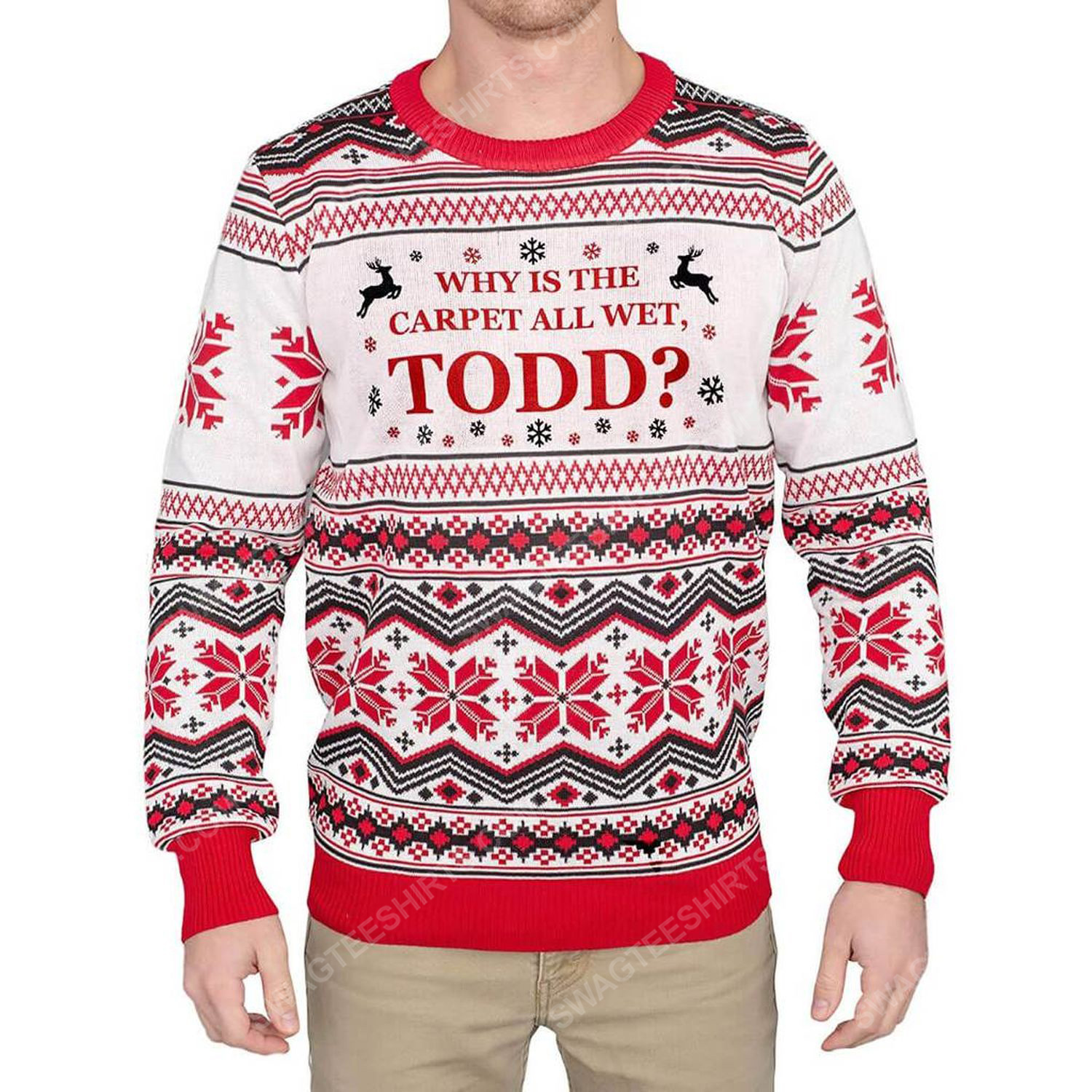 Why is the carpet all wet todd full print ugly christmas sweater 2