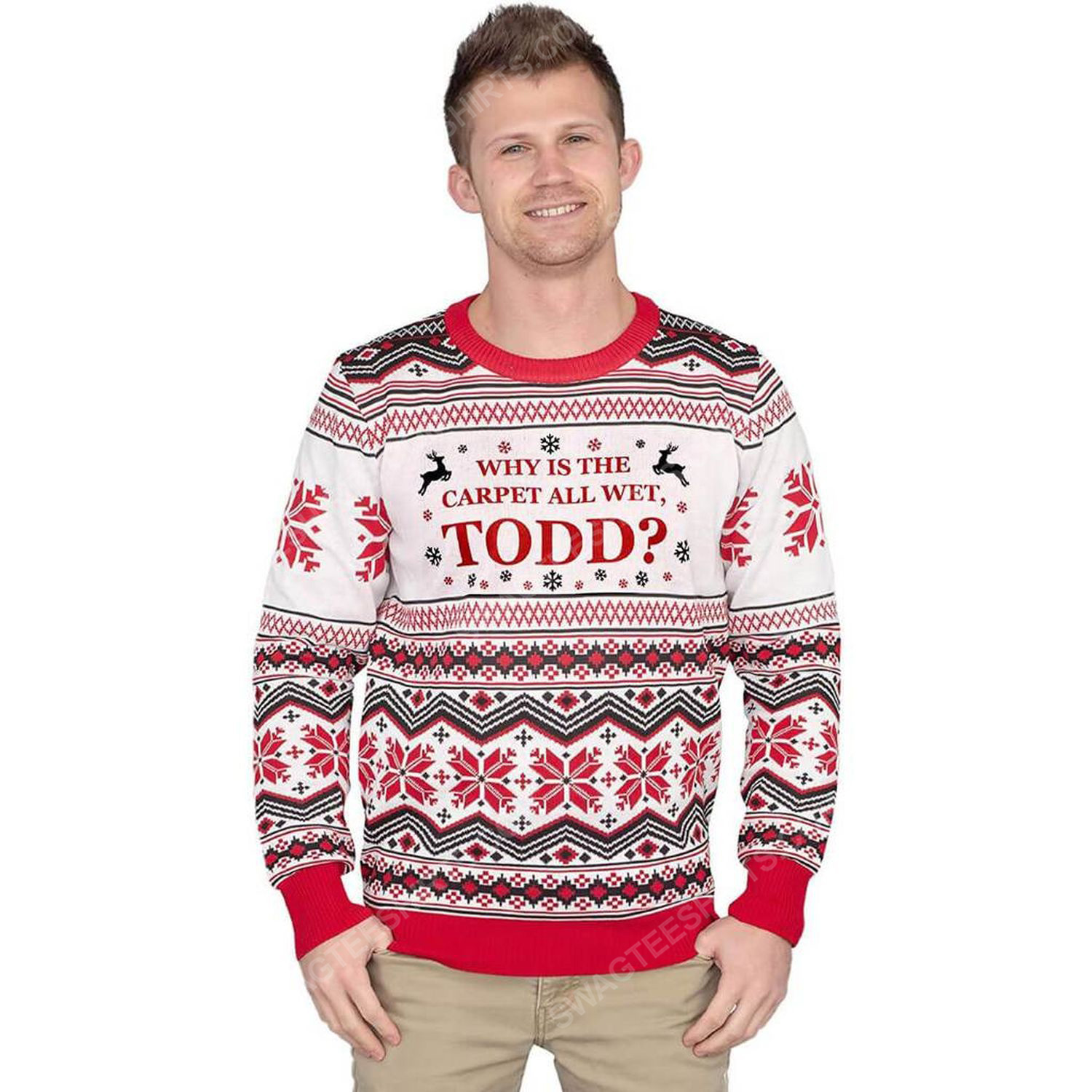 Why is the carpet all wet todd full print ugly christmas sweater 3
