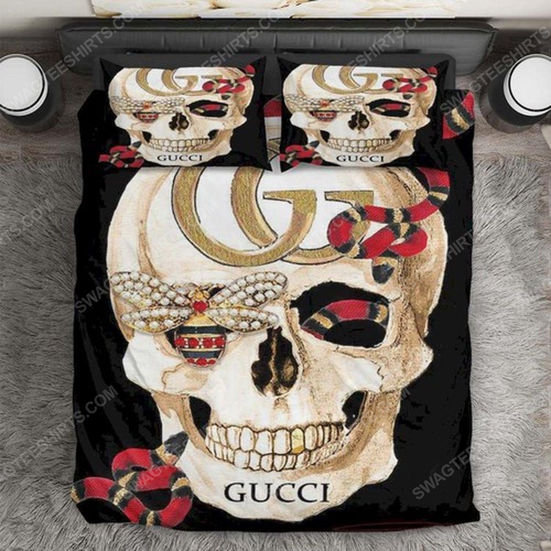 skull gucci and rose full print duvet cover bedding set 2