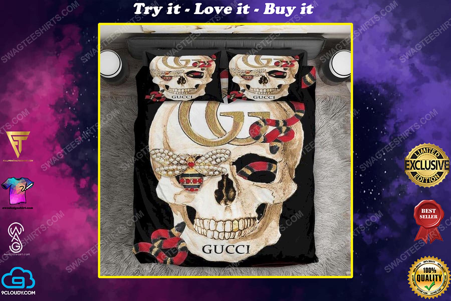 skull gucci and rose full print duvet cover bedding set