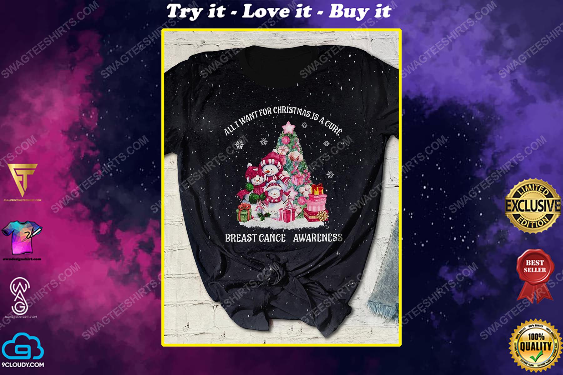 Breast cancer awareness all i want for christmas is a cure bleached shirt