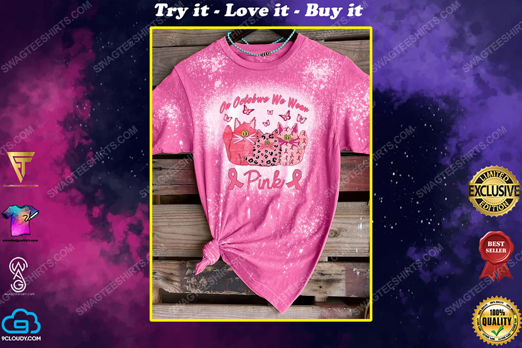 Breast cancer awareness in october we wear pink cat and butterfly bleached shirt