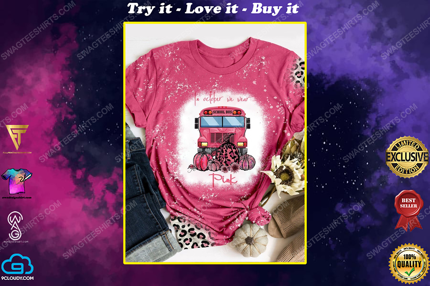 Breast cancer awareness in october we wear pink cat and butterfly shirt