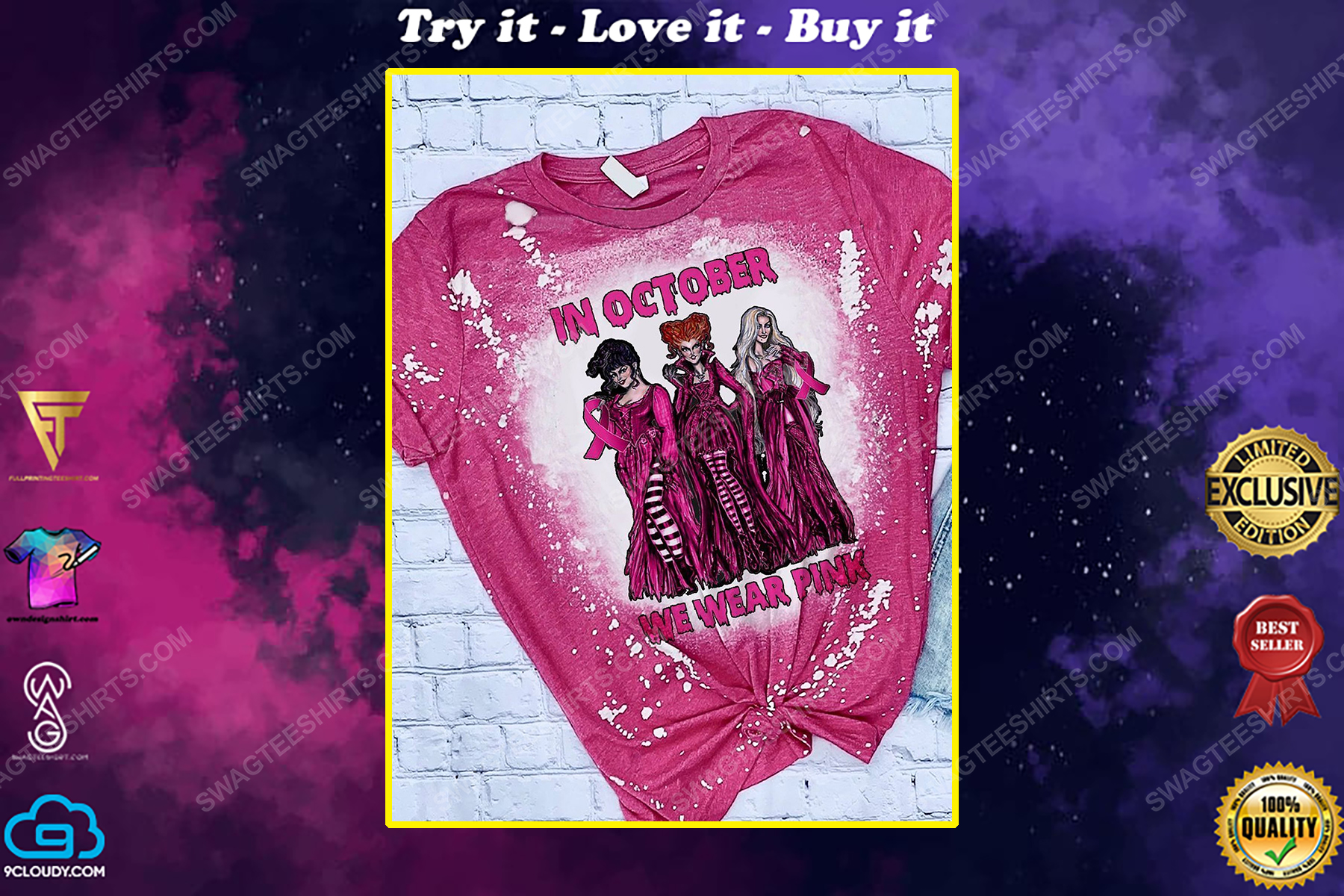 Breast cancer awareness in october we wear pink hocus pocus bleached shirt
