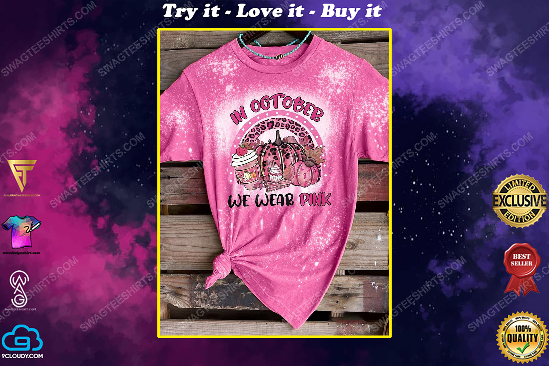 Breast cancer awareness in october we wear pink pumpkin and coffee bleached shirt