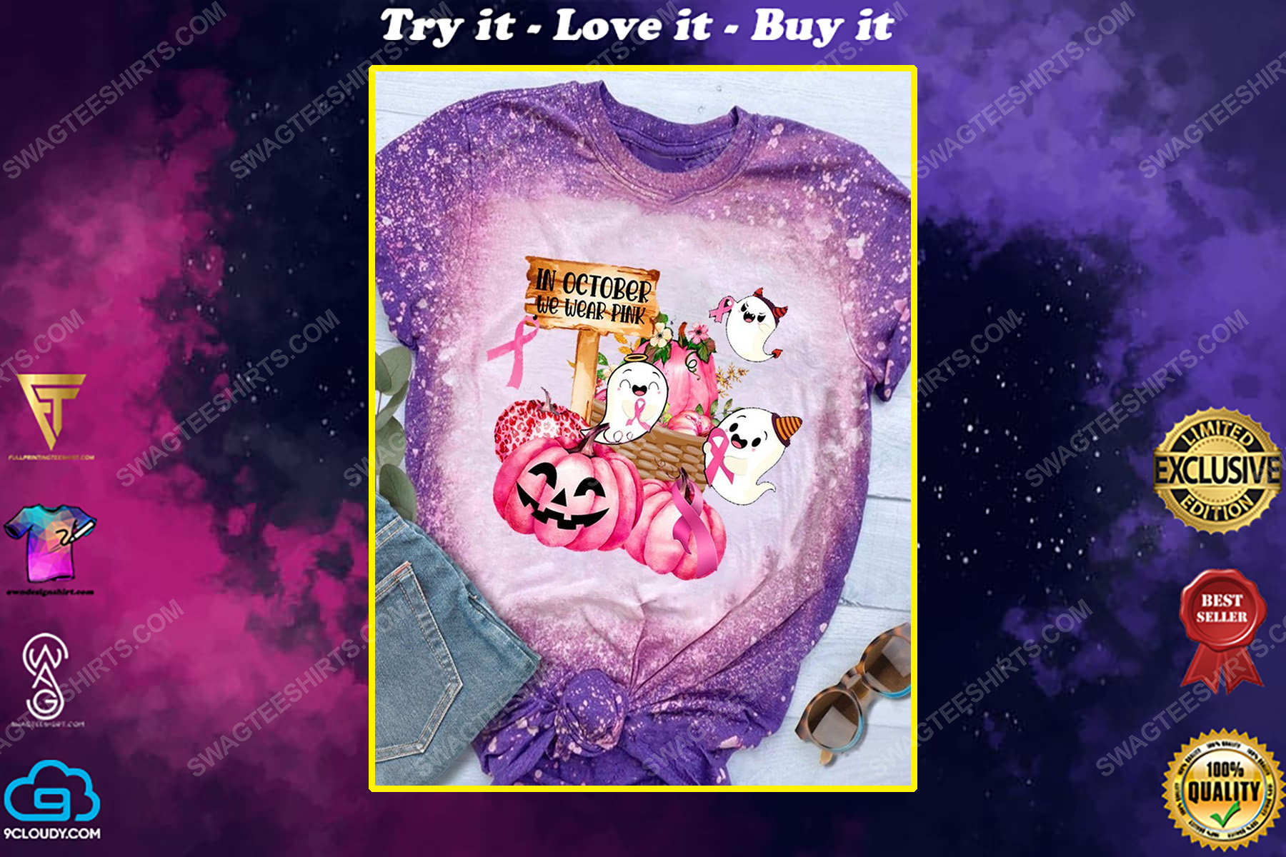 Breast cancer awareness in october we wear pink pumpkin ghost and ribbons bleached shirt