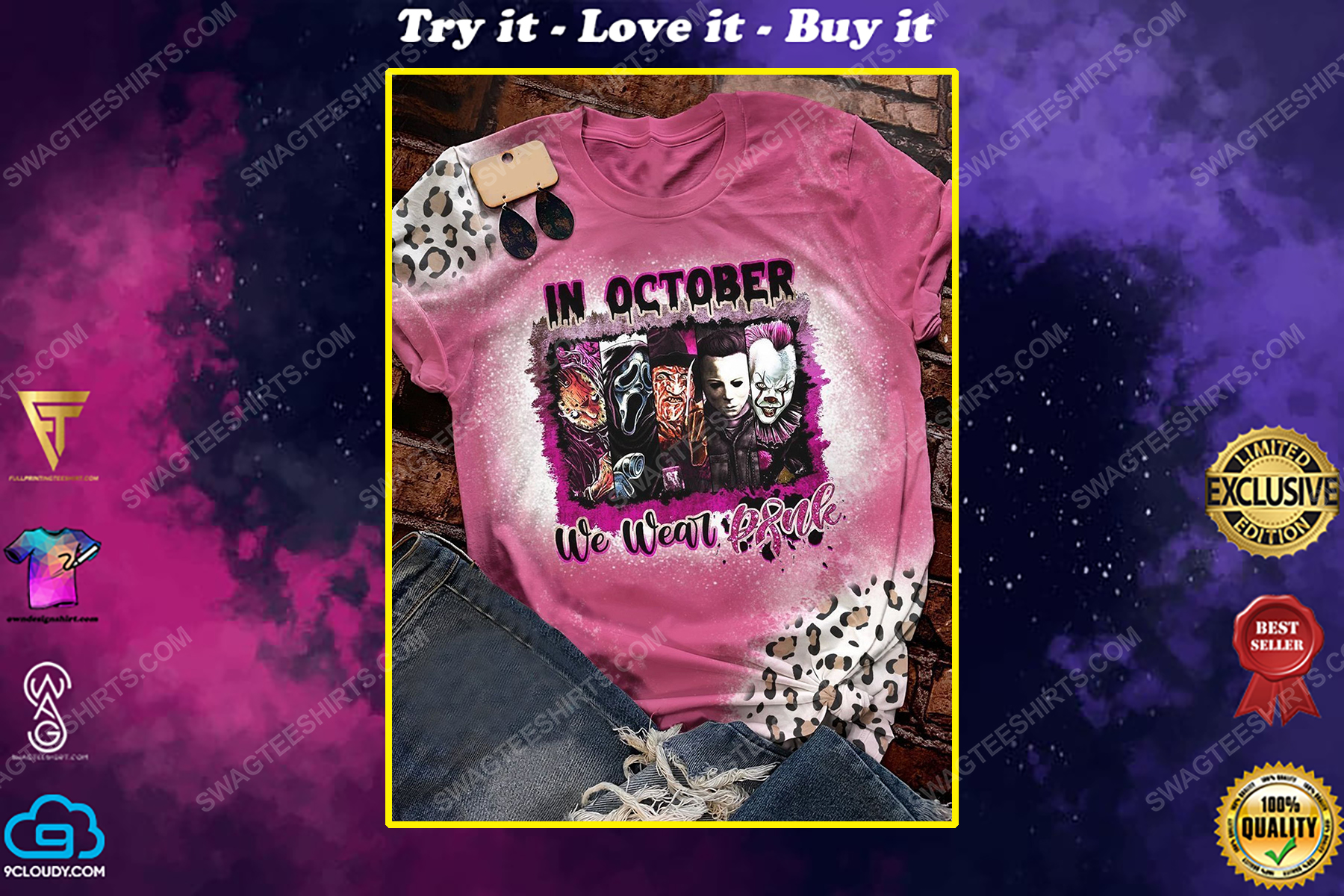 Breast cancer awareness in october we wear pink serial killers shirt