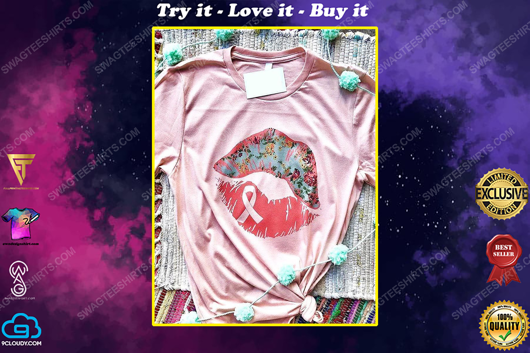 Breast cancer awareness in october we wear pink sexy lips ribbons shirt