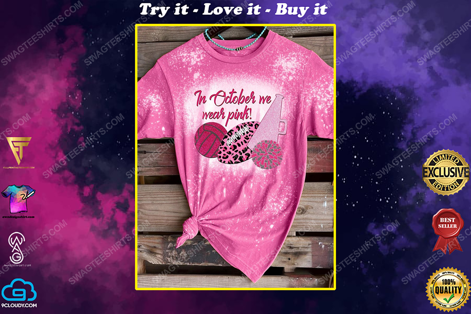 Breast cancer awareness in october we wear pink sports bleached shirt
