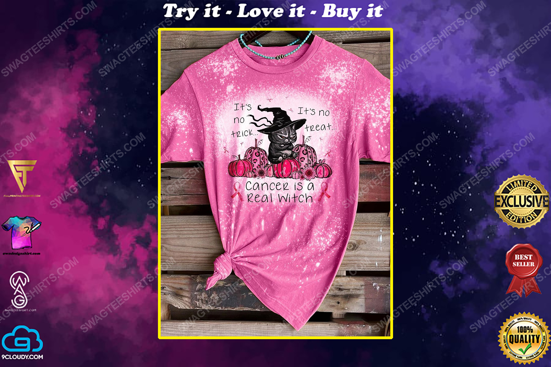 Breast cancer awareness it's no trick it's no treat cancer is a real witch bleached shirt