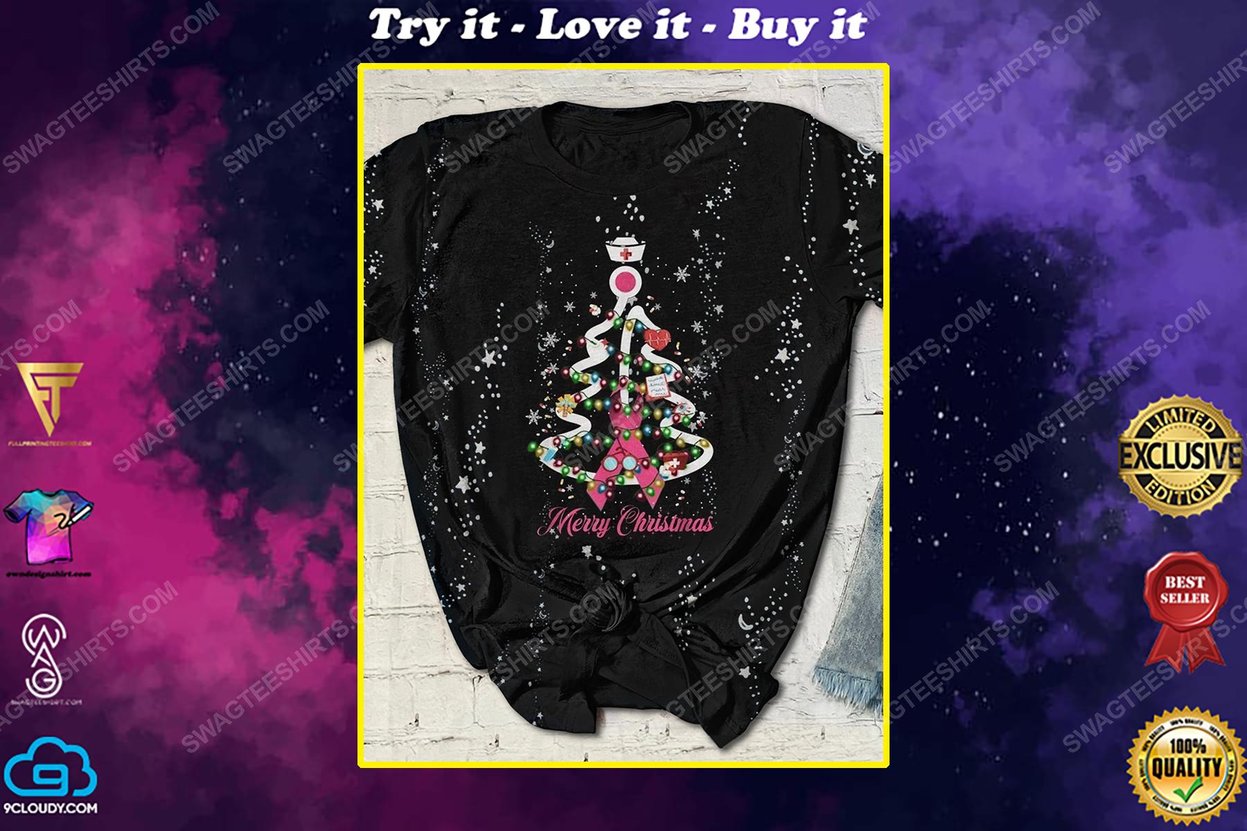 Breast cancer awareness merry christmas tree full print shirt