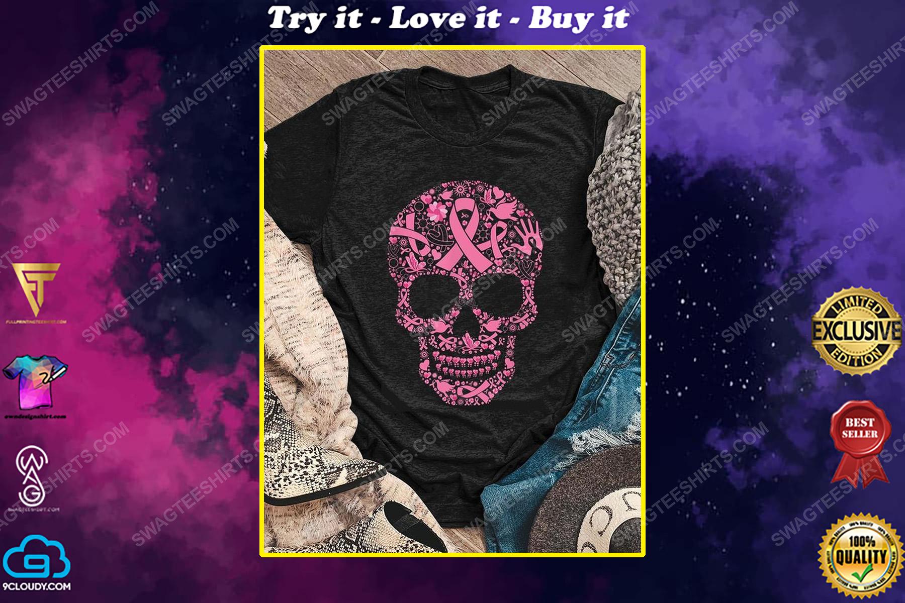 Breast cancer awareness sugar skull shirt