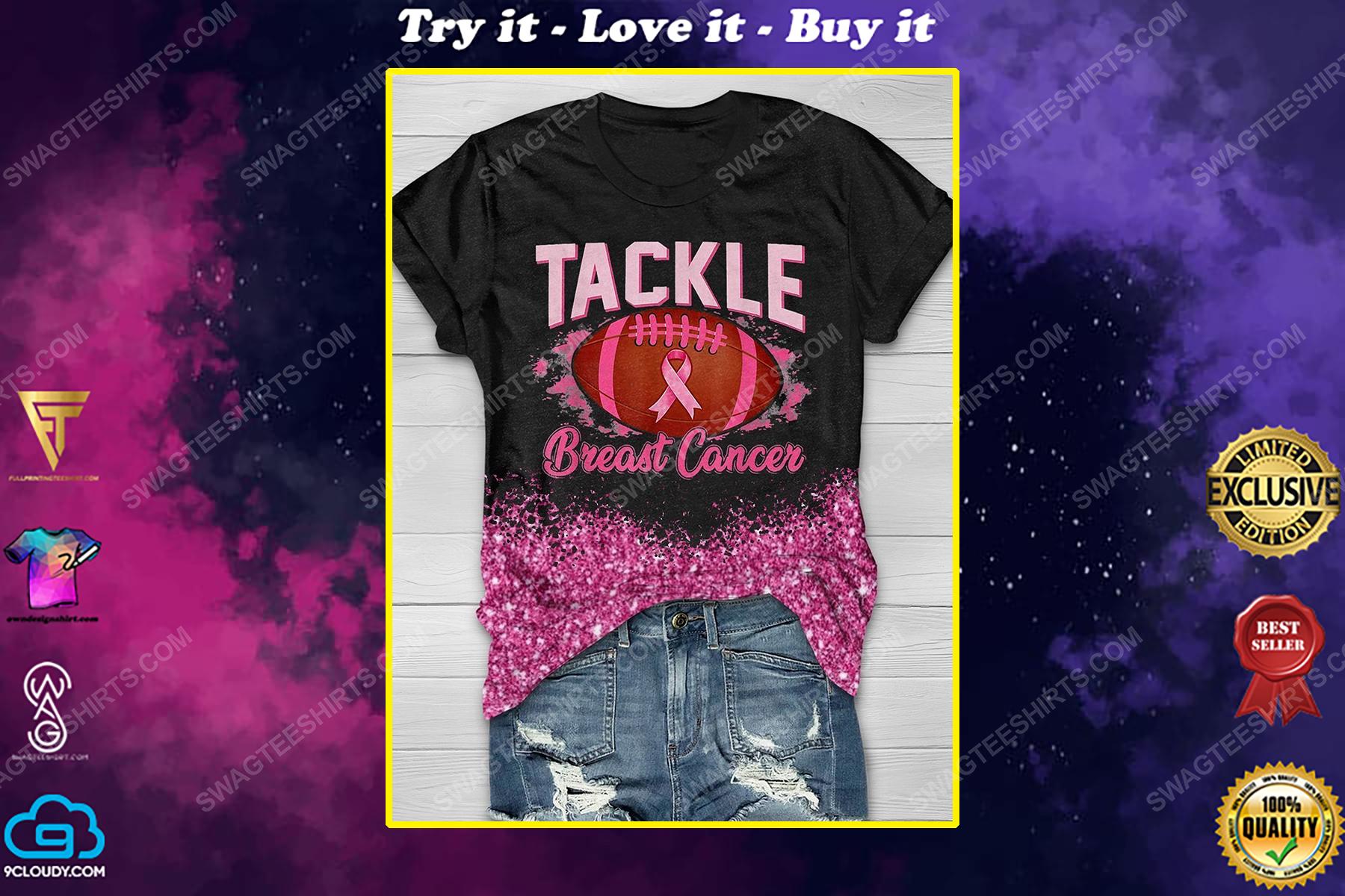 Breast cancer awareness tackle football breast cancer full print shirt