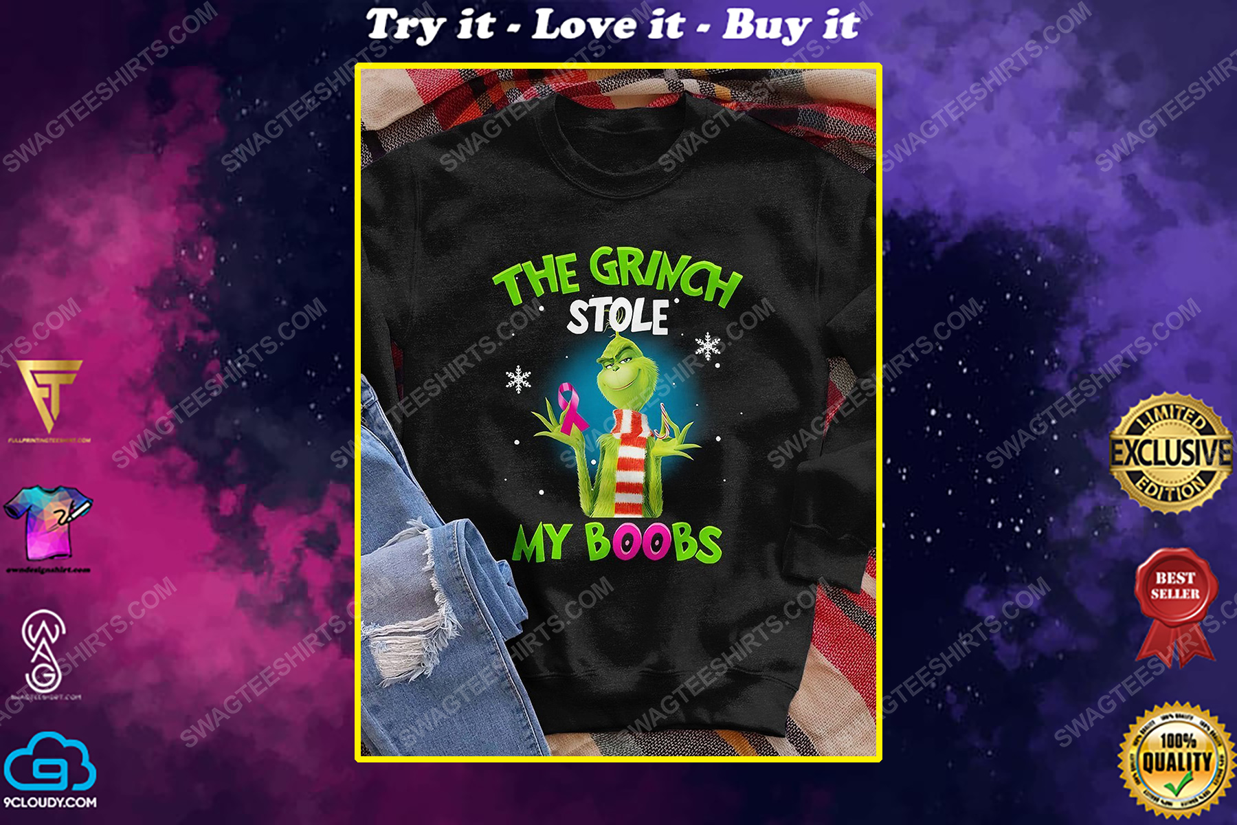 Breast cancer awareness the grinch stole my boobs shirt