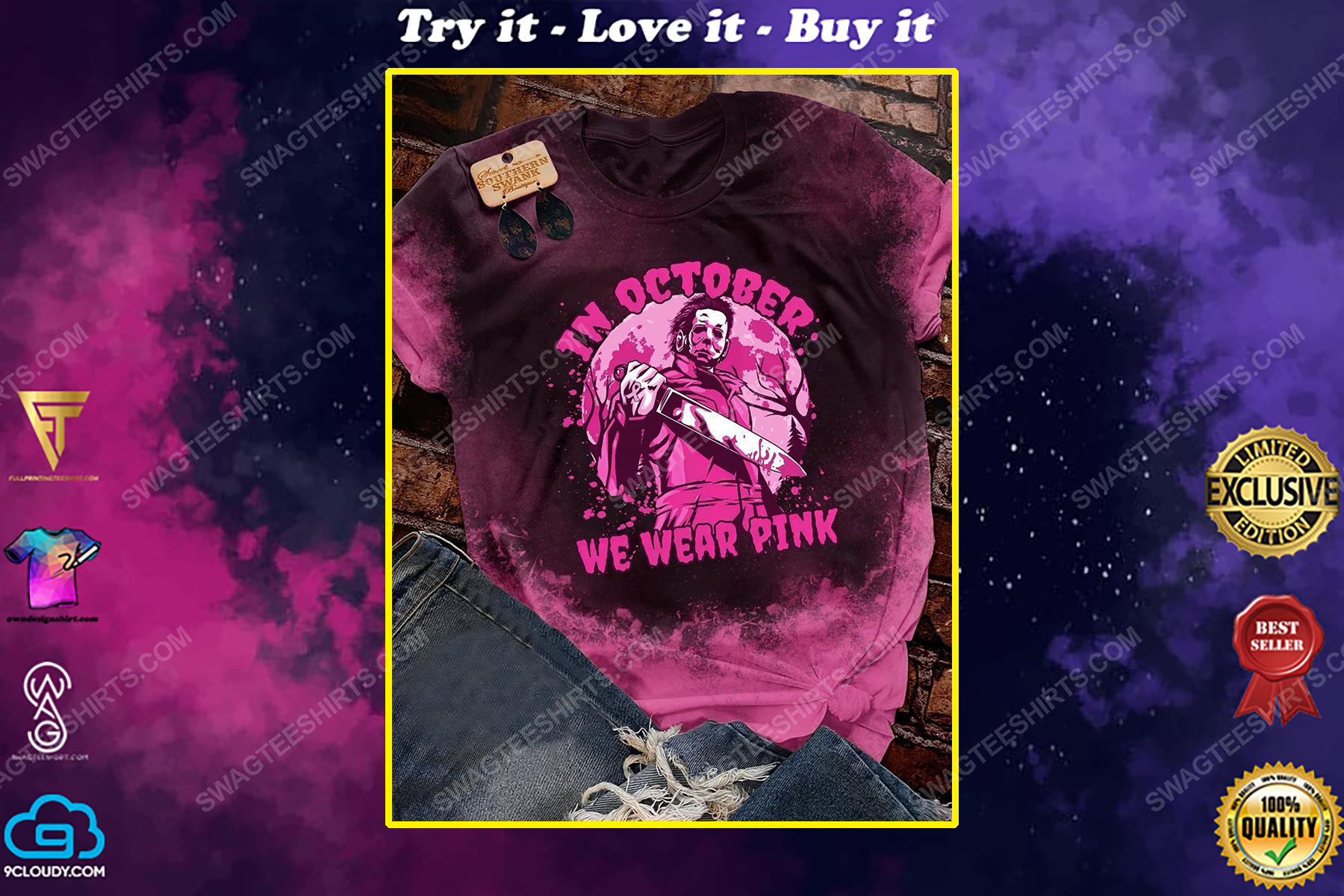 Breast cancer in october we wear pink michael myers shirt