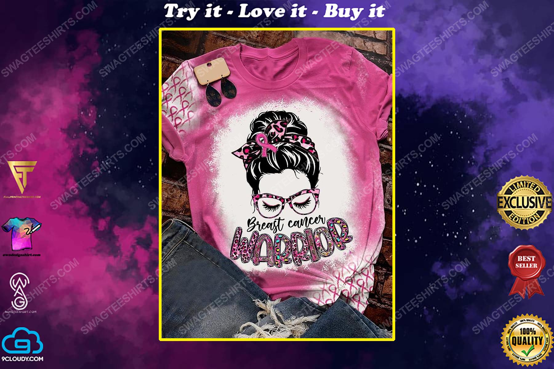 Breast cancer warrior leopard full print shirt