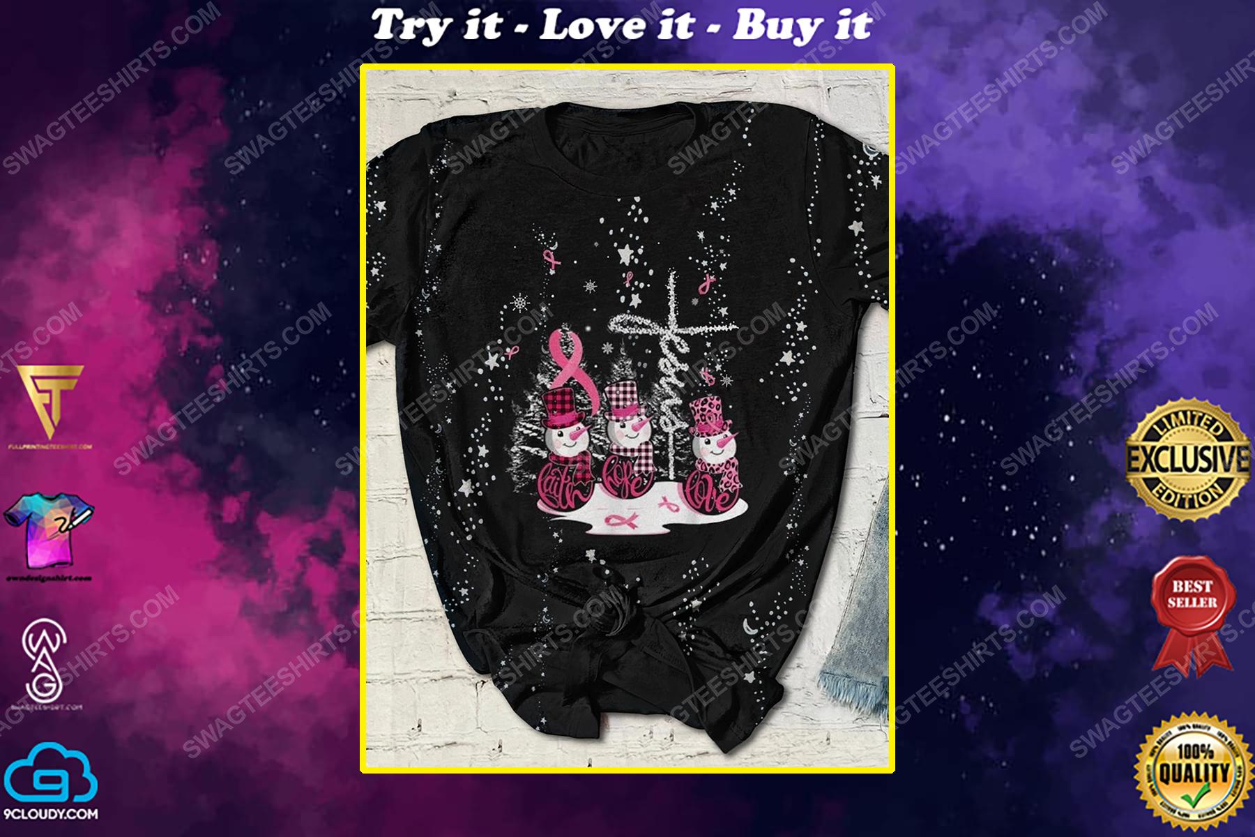 Christmas Jesus breast cancer awareness full print shirt