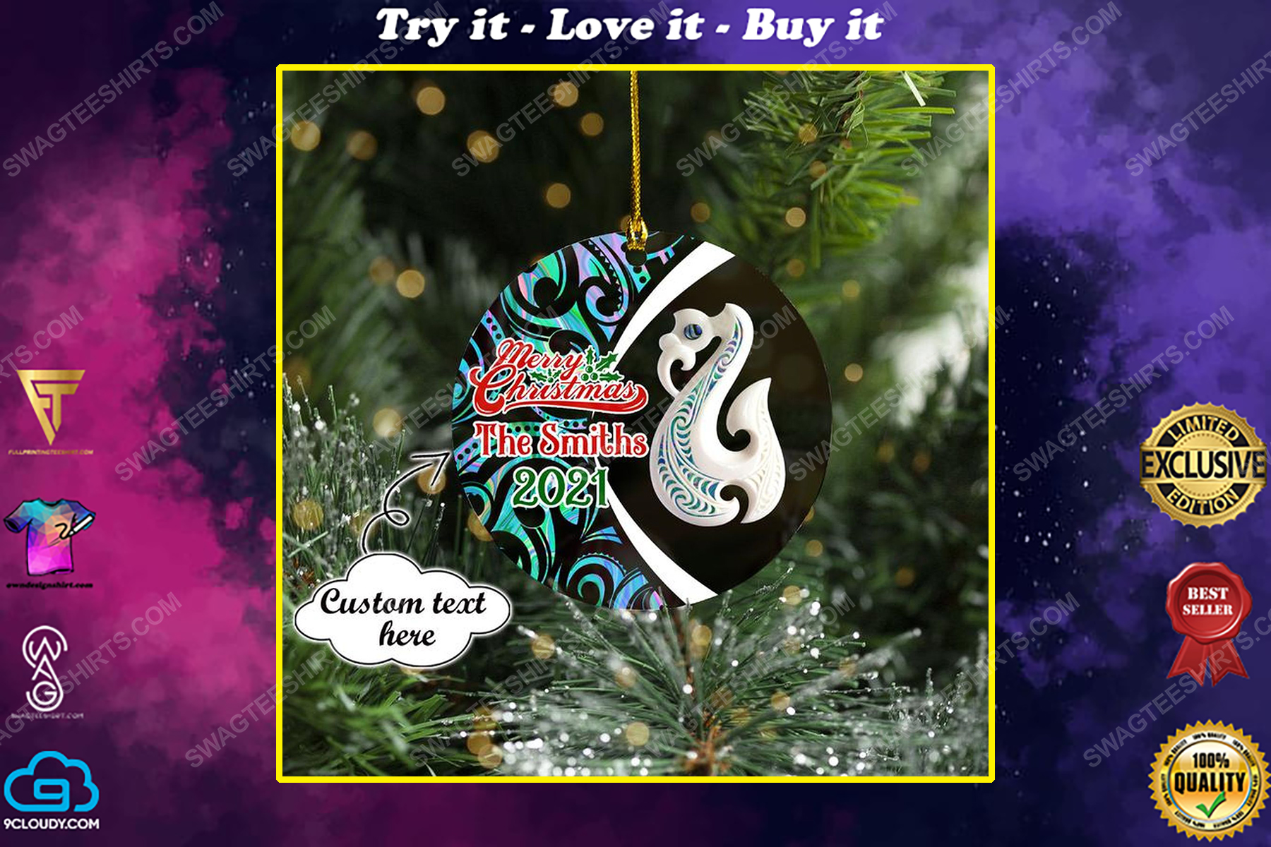 Custom manaia new zealand christmas time ornament