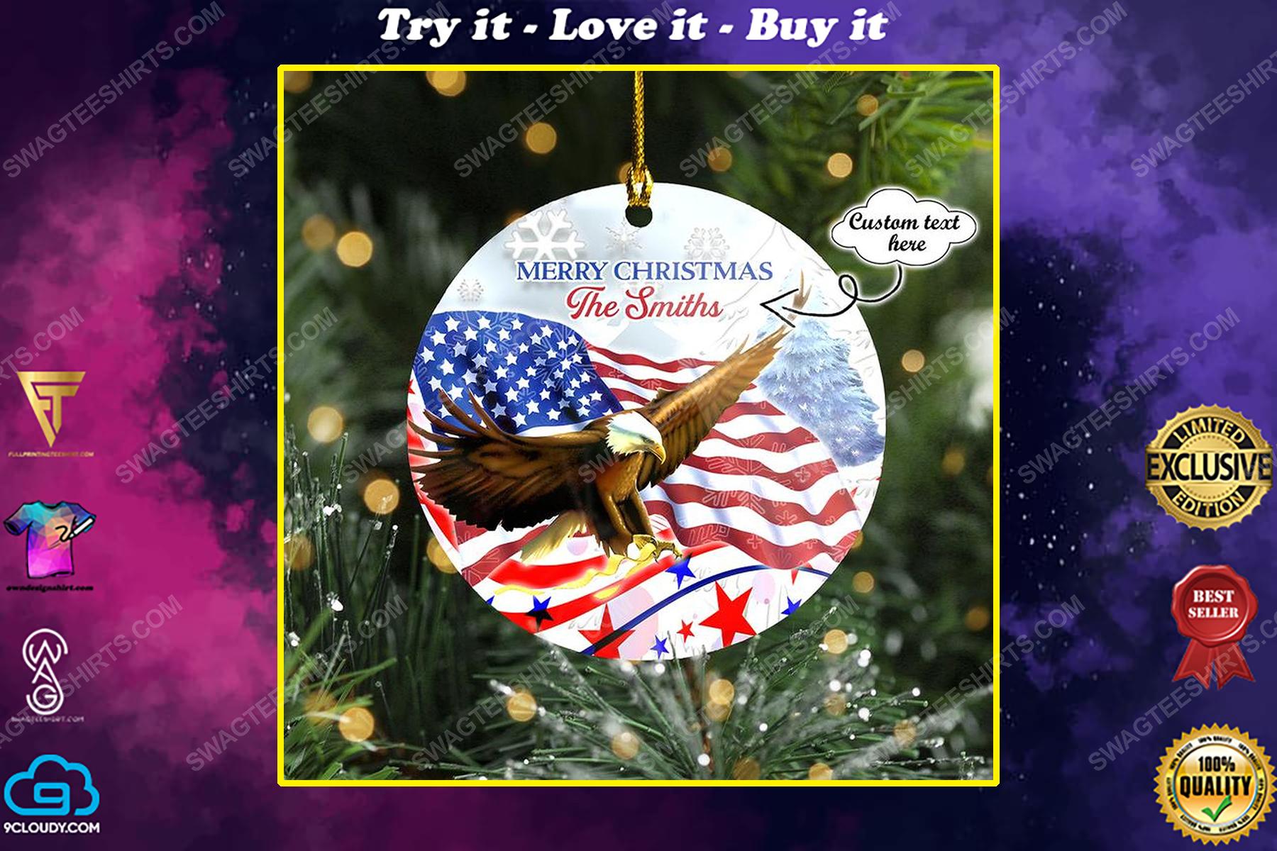 Custom merry christmas eagle and flag christmas time ornament