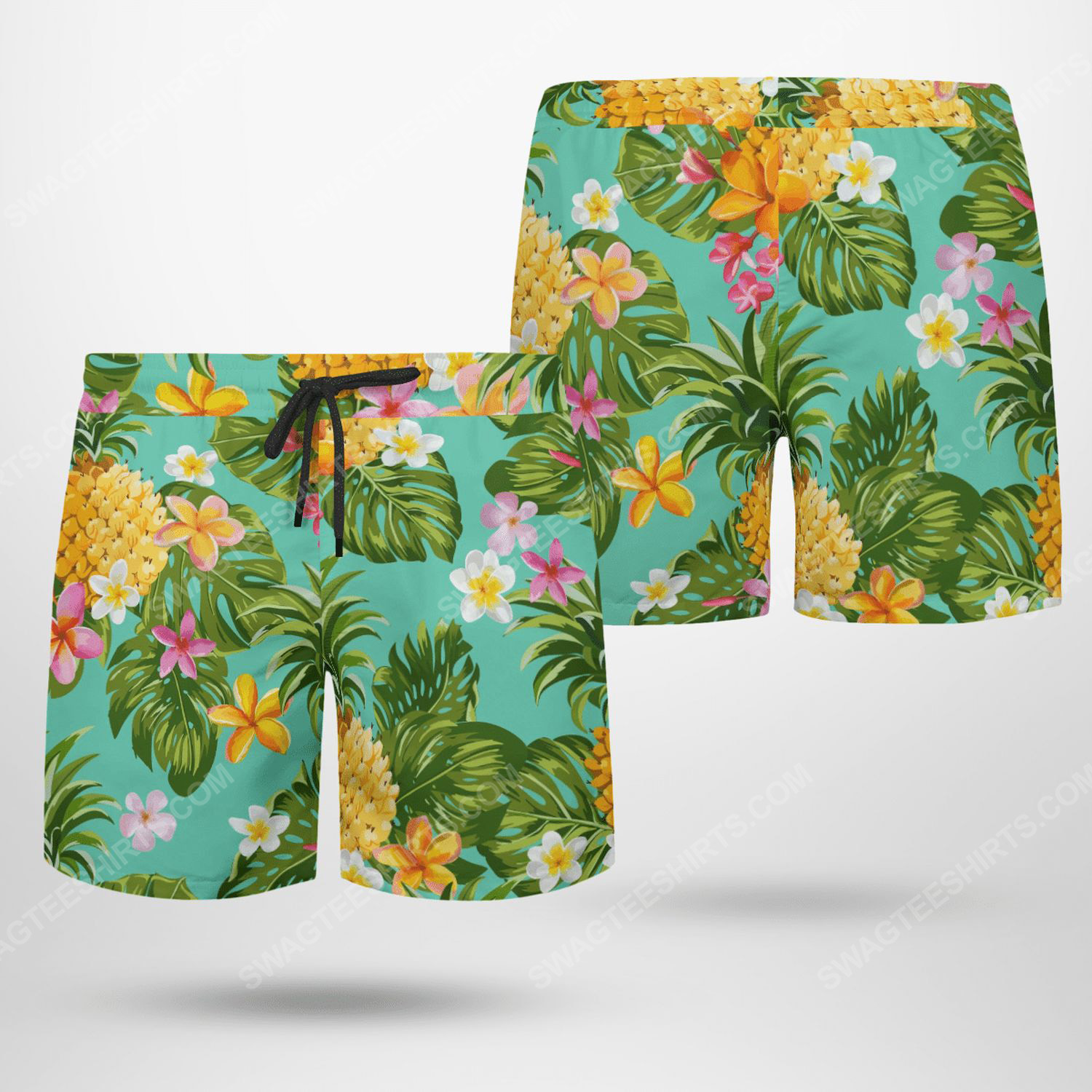 Fruits and flower tropical beach shorts - Copy