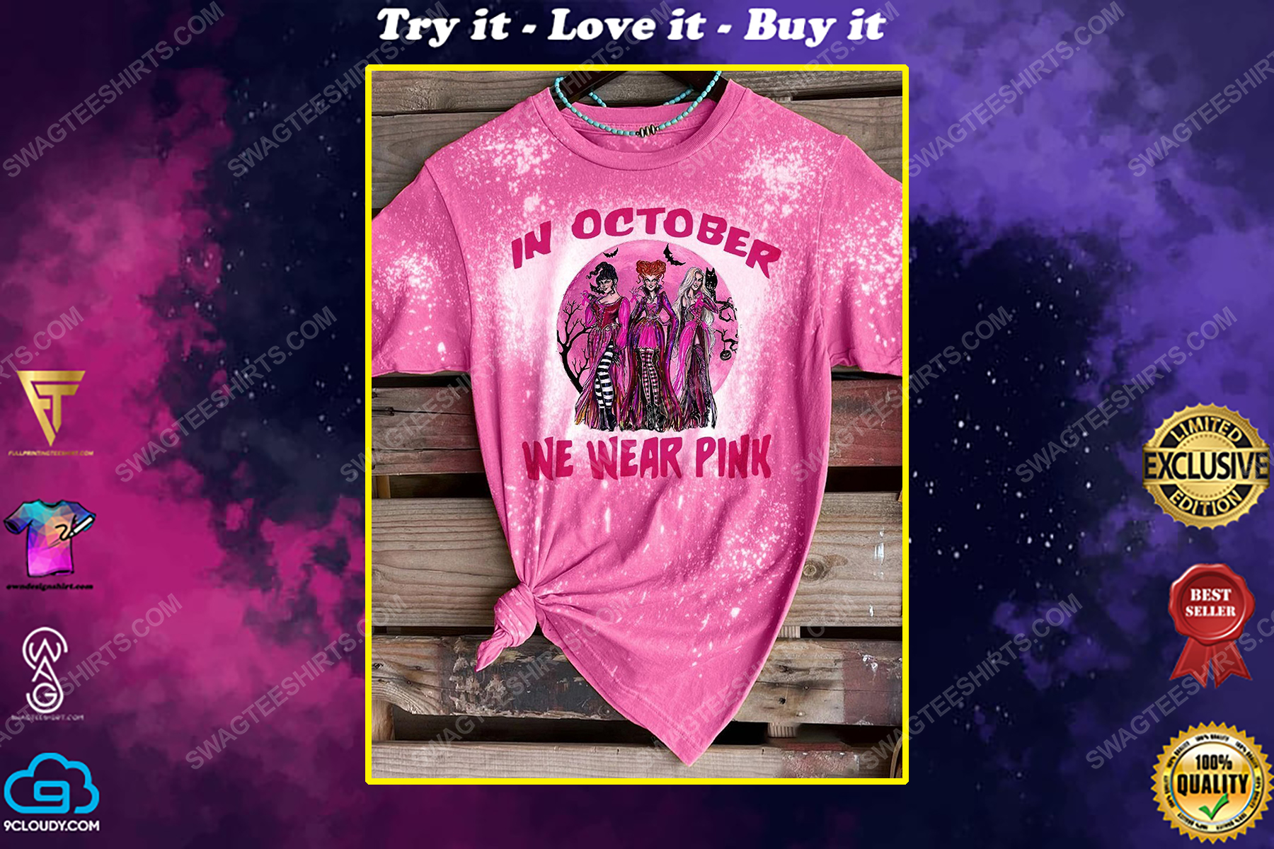 In october we wear pink hocus pocus breast cancer bleached shirt