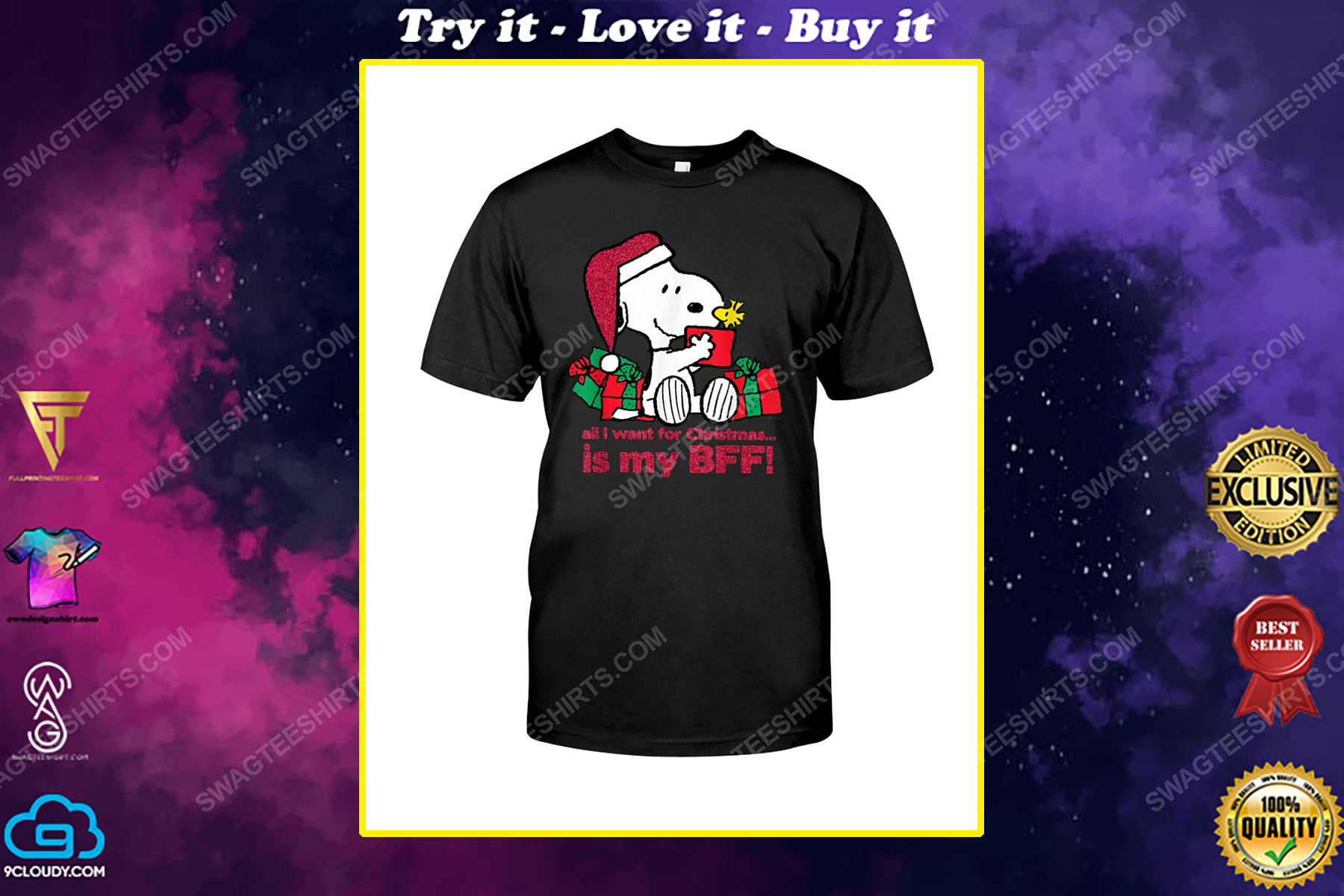 Snoopy all i want for christmas is my bff shirt