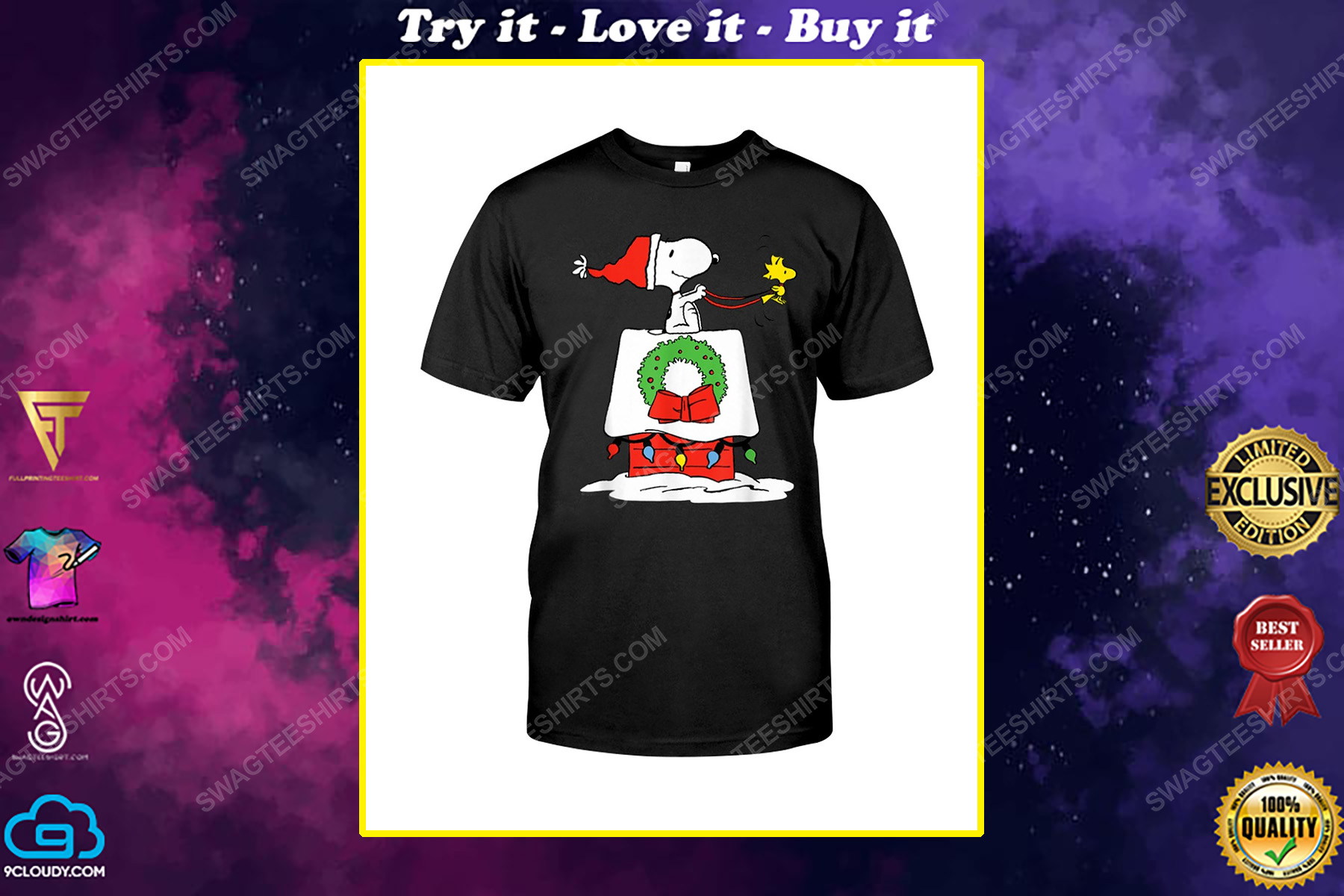 Snoopy and woodstock with christmas house shirt