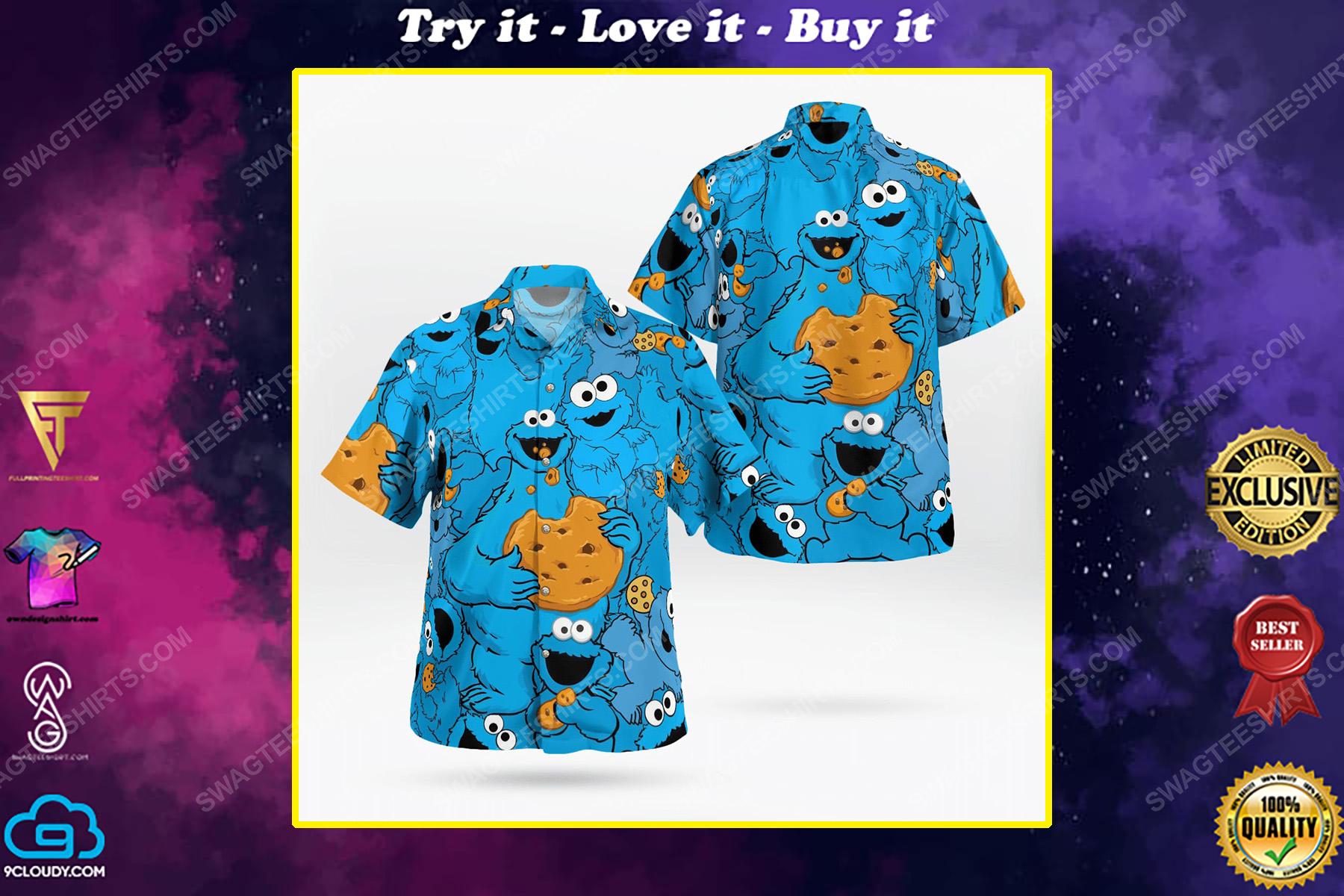 The muppet show cookie monster tropical hawaiian shirt