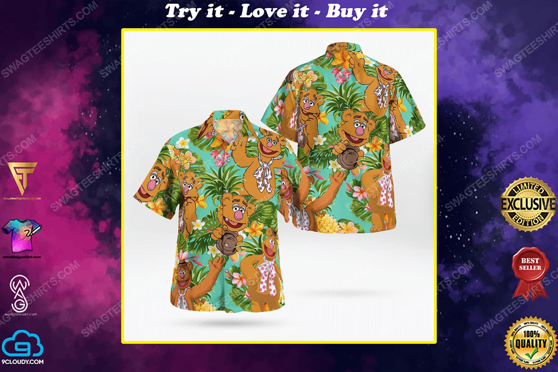 The muppet show fozzie bear tropical hawaiian shirt