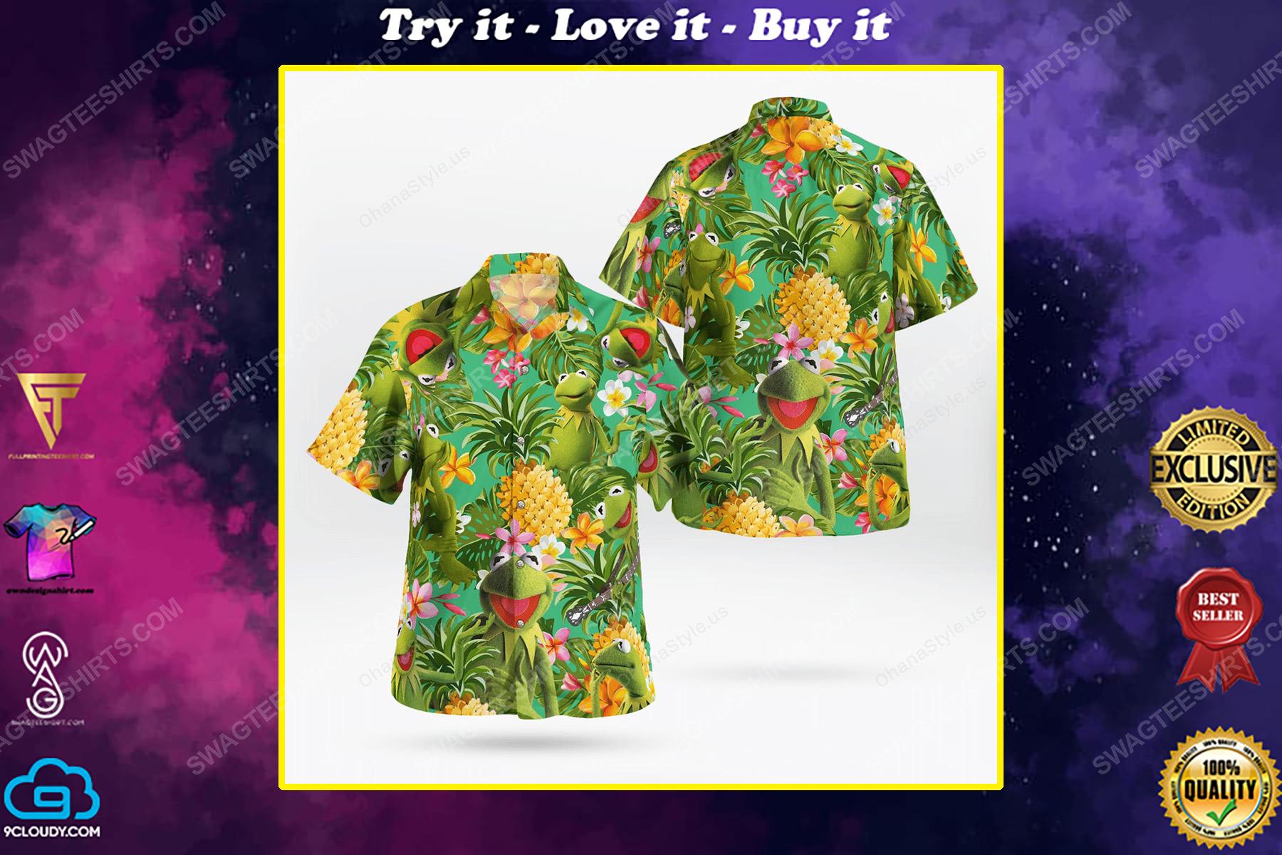 The muppet show kermit the frog tropical hawaiian shirt